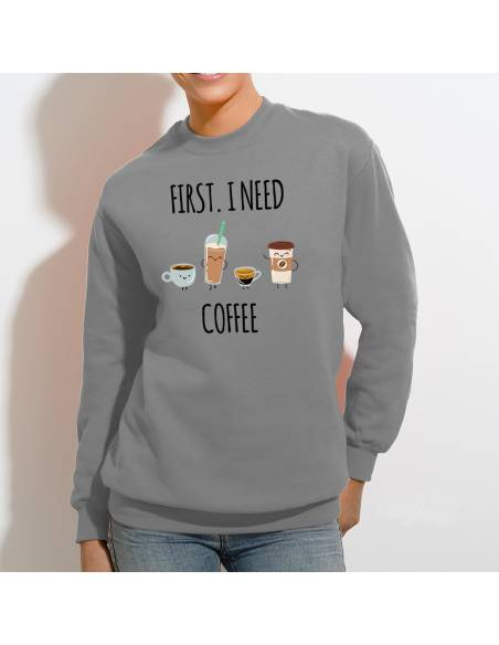 Sudaderas Sin Capucha I Need Coffee W
